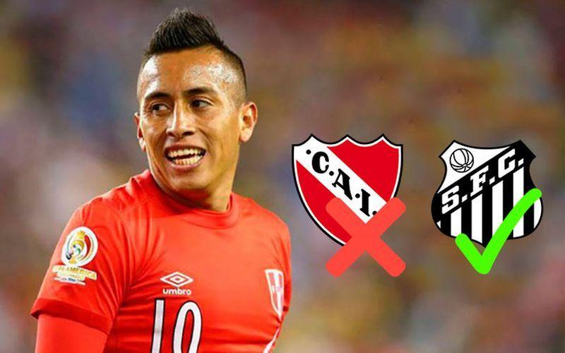 Cueva no irá a la Independiente pero podría fichar al Santos de Brasil