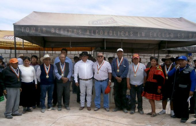Los homenajeados por el alcalde de Santa Rosa.