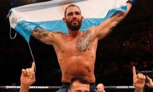 Santiago Ponzinibbio tras ganar su pelea en el debut de UFC en Argentina.