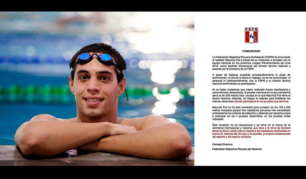 Federación de Natación responde denuncia de nadador Fiol